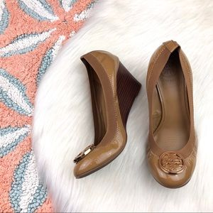 Tory Burch Caroline Patent Leather Logo Wedges.